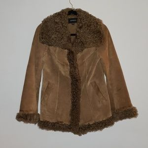 Cute Leather lamb fur Express coat size small